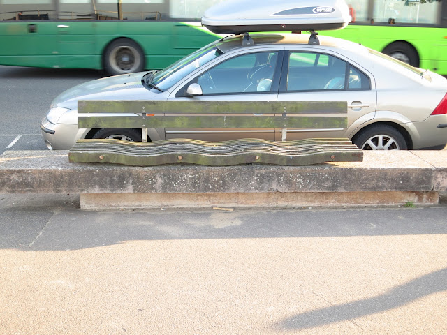 Car with carrier on roof, and a bus, beside bench where plants found.