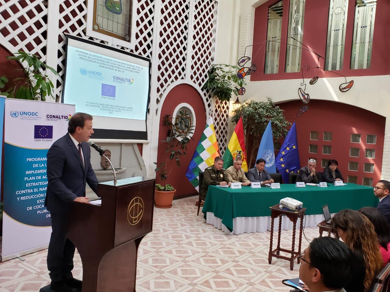 Thierry Rostan, representante de la UNODC en Bolivia / PRENSA UNODC
