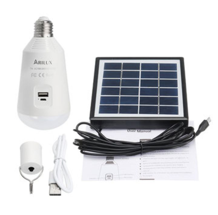 ARILUX Rechargeable LED Light Bulb with Solar Panel and USB Connection Port