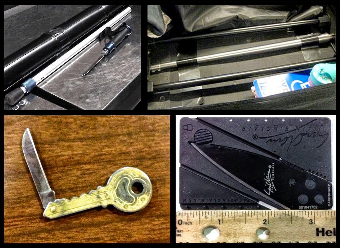 Cane Knife (SFO), Rifle Barrel (ANC), Key Knife (BTV), Card Knife (OAK)