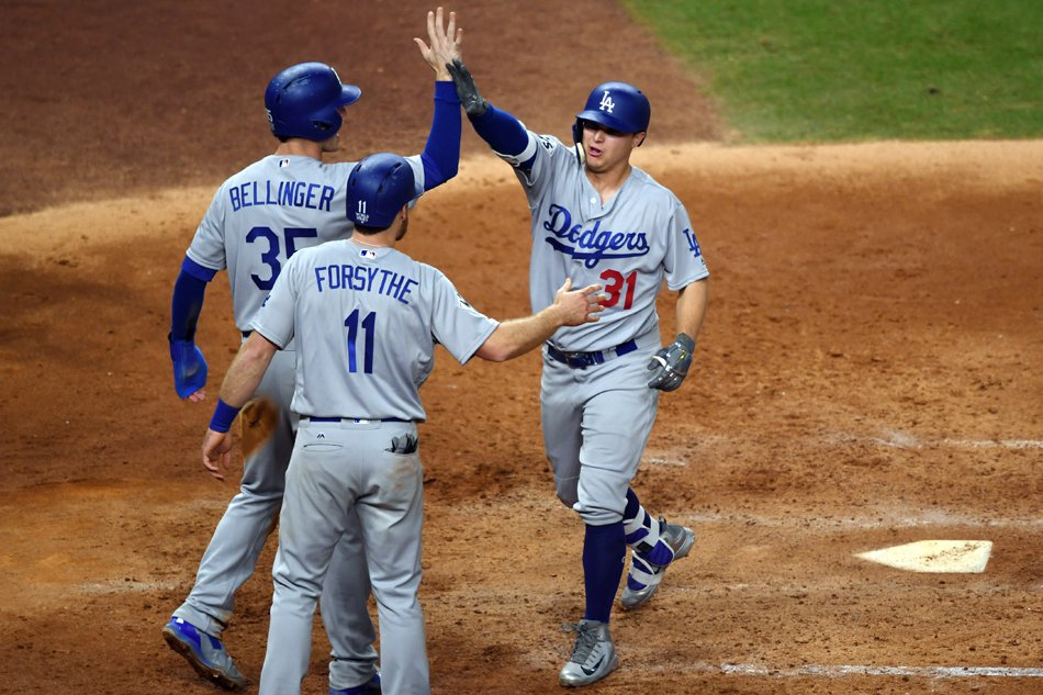 ed3ca4a6b97 HOUSTON - Joc Pederson s three-run shot in the ninth inning helped the Los  Angeles Dodgers to a 6-2 win over the Houston Astros on Saturday to level  the ...