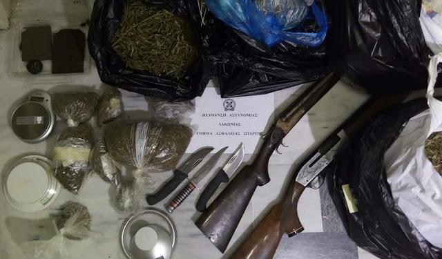 Σύλληψη 53χρονου στη Σπάρτη με 6 κιλά χασίς όπλα και μαχαίρια