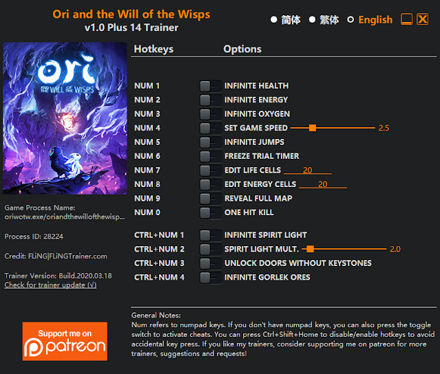 Tampilan Menu Trainer Ori and the Will of the Wisps PC