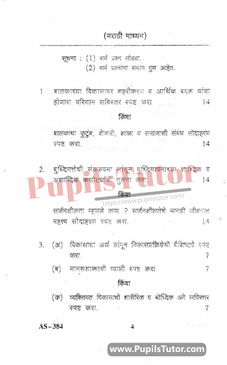 Childhood And Growing Up Question Paper In Marathi