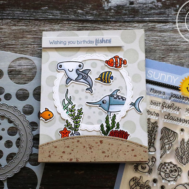 Sunny Studio Stamps: Best Fishes Fancy Frames Circle Dies Customer Birthday Card by Anika