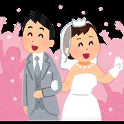祝福されている新郎新婦のイラスト(結婚式)