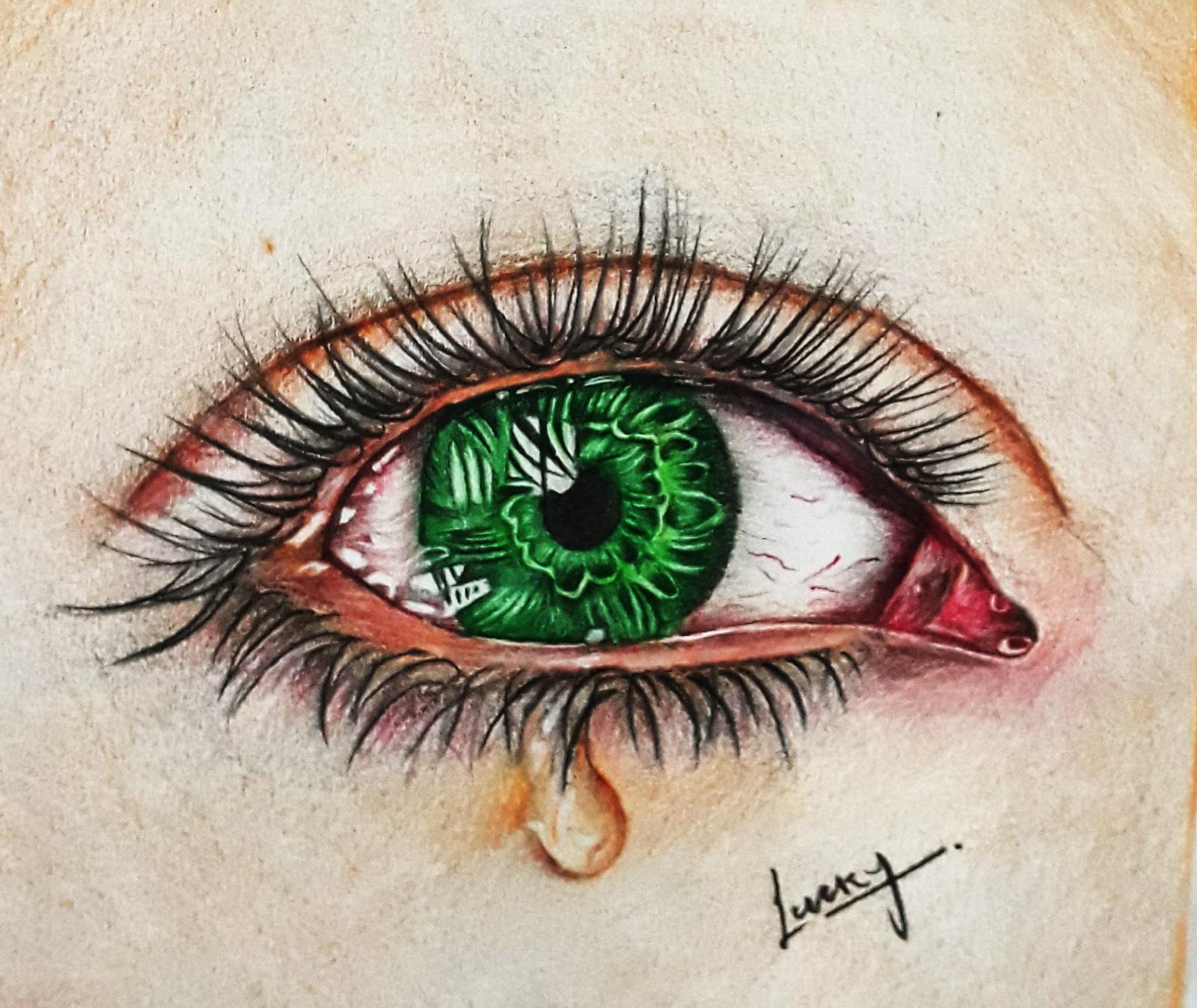Realistic cry eye color pencil sketch lky sketch