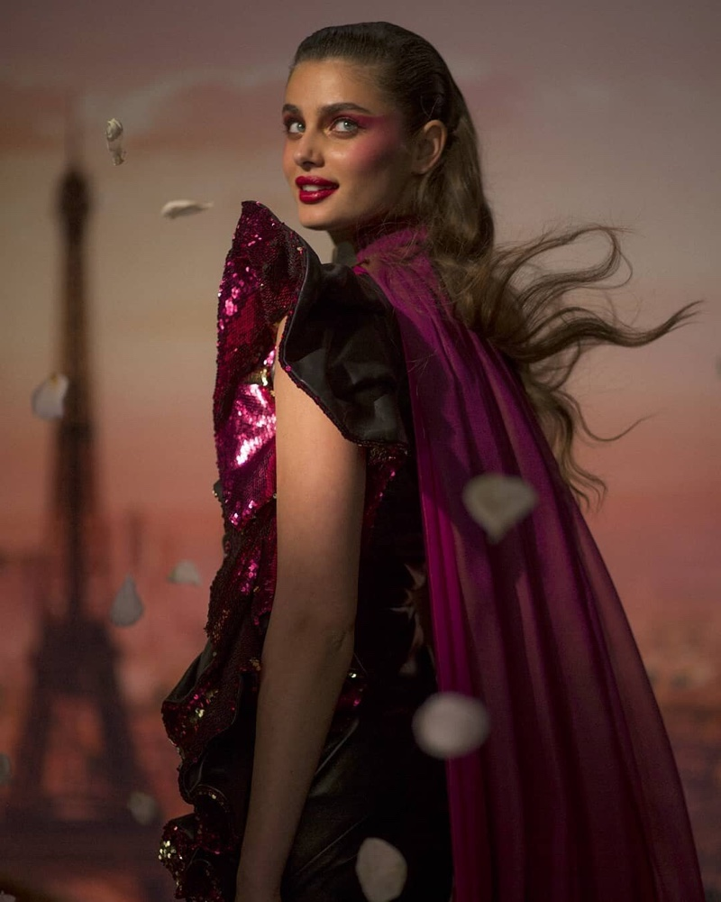 Taylor Hill poses for Lancome Halloween 2019 makeup shoot