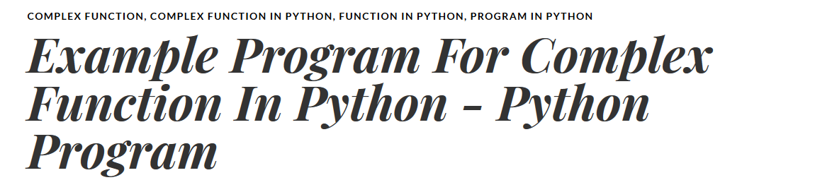 Example Program For Complex Function In Python