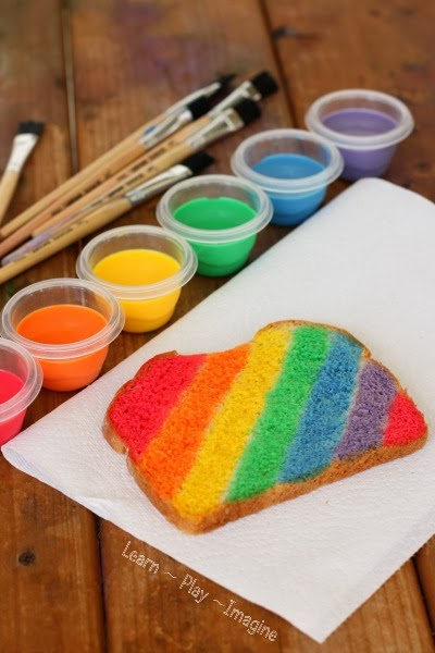 Make rainbow toast for a fun twist on breakfast for snack time - It's simple and exciting!