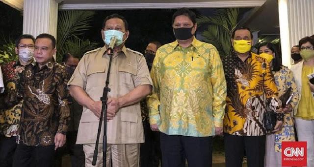Prabowo dan Airlangga Bungkam Dicecar Opsi Reshuffle Jokowi