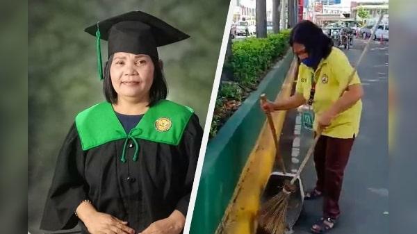 55-year-old streetsweeper graduates college in Batangas