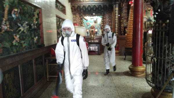 溪湖鎮重災區人心惶惶  國軍化學兵地毯式環境消毒