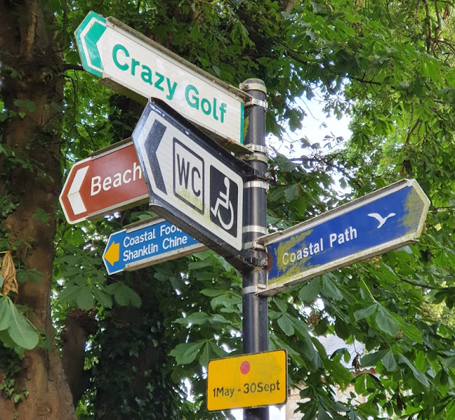 Sign for the Crazy Golf course at Rylstone Gardens in Shanklin