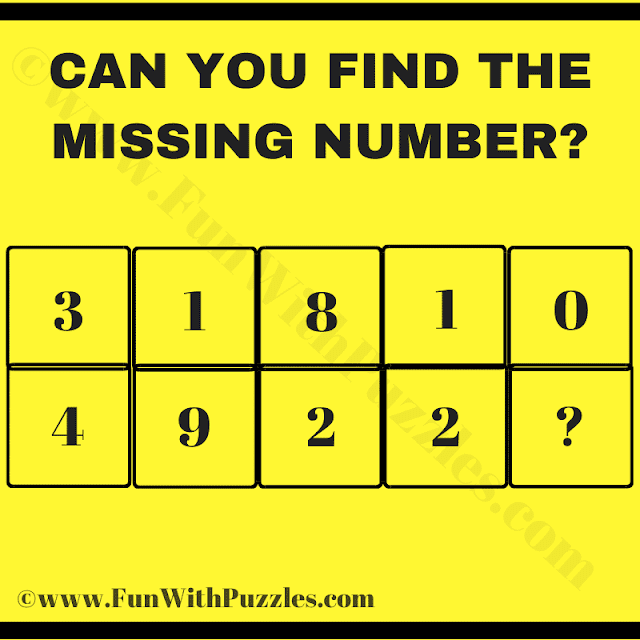 Can you find the Missing Number? 3 1 8 1 0 Row 1, 4 9 2 2 ? Row 2