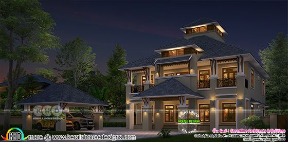 modern house rendering in night view with detached car porch