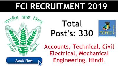 FCI recruitment 330 posts notification 2019 apply online