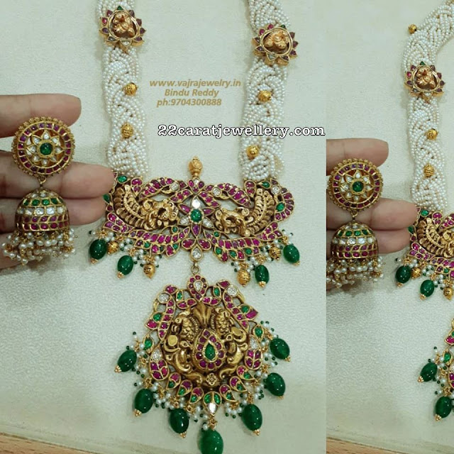 Pearls Long Chain with Two Step Kundan Locket