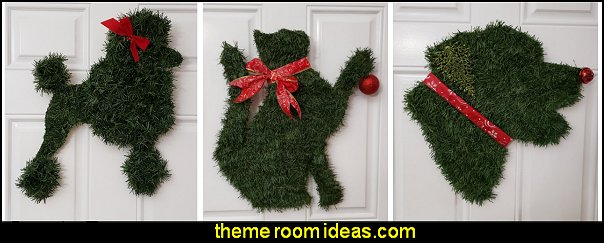 Labrador Retriever Wreath Dog Christmas Puppy Poodle Wreath Dog Christmas  Cat Christmas Wreath Kitty