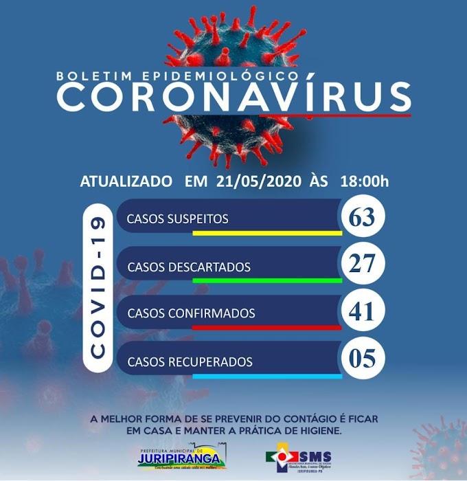 BOLETIM CORONA-VÍRUS (Juripiranga): Fique informado sobre atualizações em sua cidade. (21/05/2020).