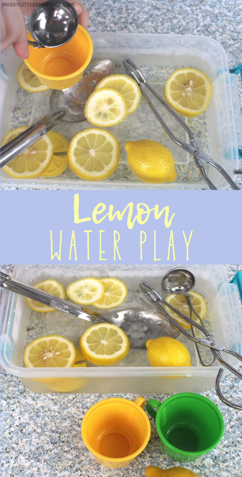 Ice and lemon summer water play sensory bin for toddlers and preschoolers
