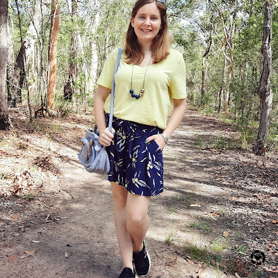 awayfromblue Instagram | lemon pastel yellow tee with navy printed kmart Culotte shorts and chloe periwinkle paraty