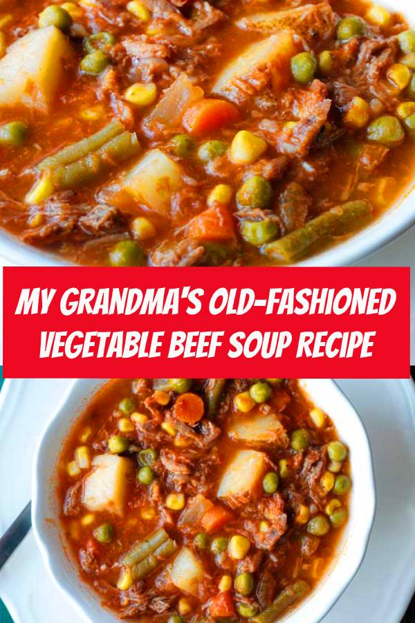 My Grandma's Old-Fashioned Vegetable Beef Soup is one of my all-time favorite soup recipes. It's super simple homemade vegetable beef soup recipe and makes enough to freeze! #beef #beefsoup #soup #vegetable #comfortfood