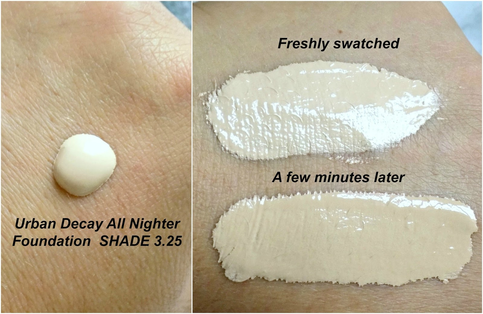 Urban Decay All Nighter Liquid Foundation swatch shade 3.25