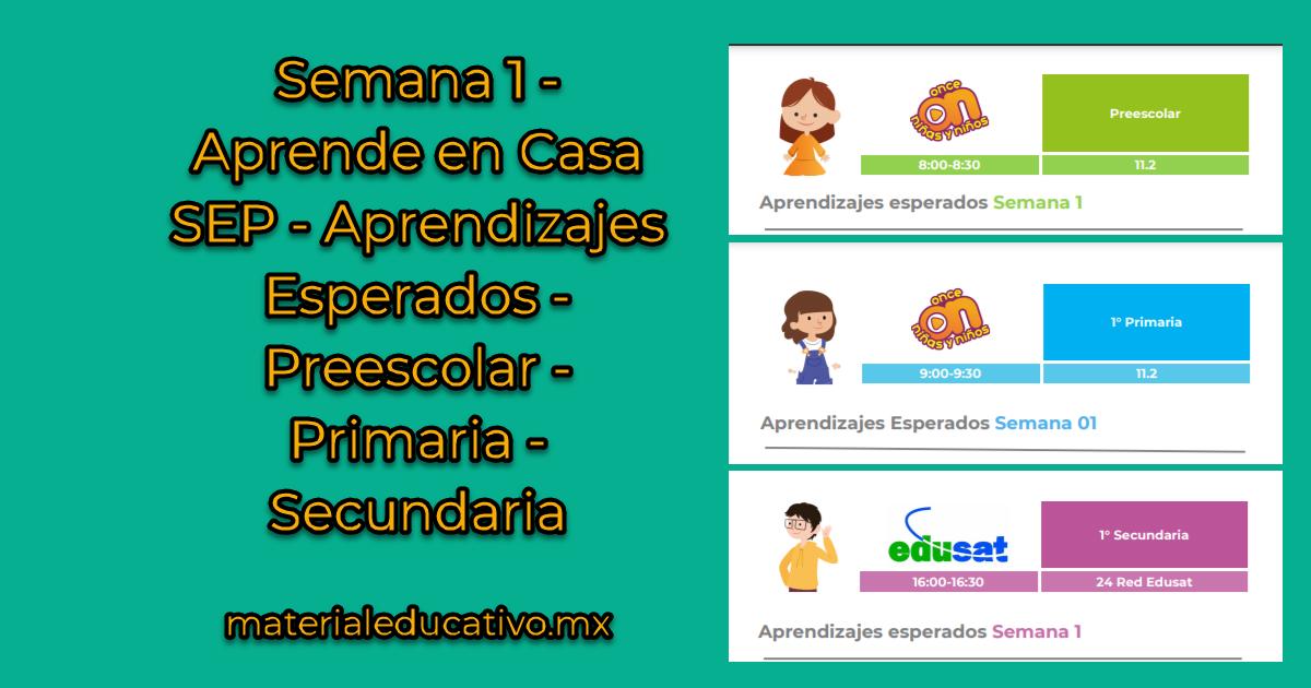 Semana 1 - Aprende en Casa SEP - Aprendizajes Esperados - Preescolar - Primaria - Secundaria1