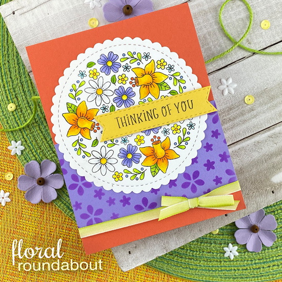 Thinking of You Floral Card by Jennifer Jackson | Floral Roundabout Stamp Set, Circle Frames Die Set, Banner Trio Die Set and Petite Flowers Stencil by Newton's Nook Designs  #newtonsnook #handmade