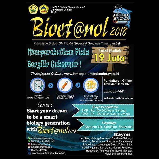 Olimpiade Biologi BIOETANOL 2018 Univ. Jember