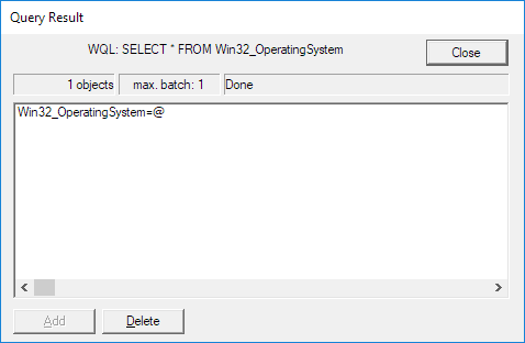 screenshot showing a query result