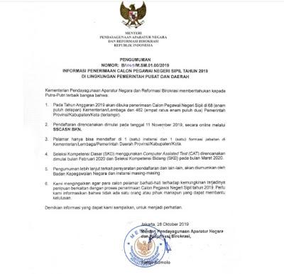 KEMENPAN RB Umumkan Pendaftaran CPNS Tanggal 11 November 2019