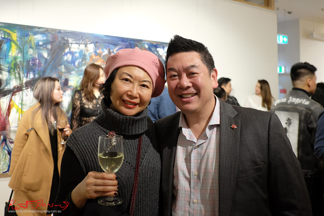 Vivienne Shui and Dion Woo at Beyond the Light - Chinese Artist He Zige - Photos By Kent Johnson for Street Fashion Sydney.