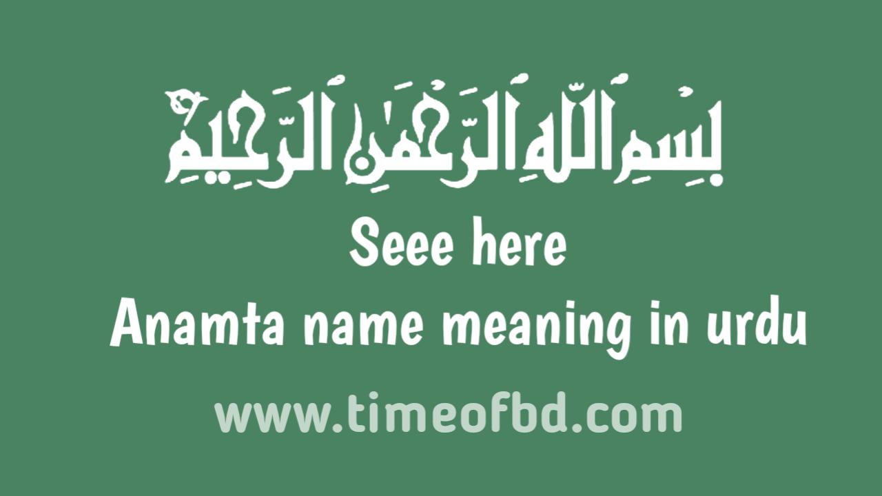 Anamta name meaning in urdu, انماٹا نام کا مطلب اردو میں ہے