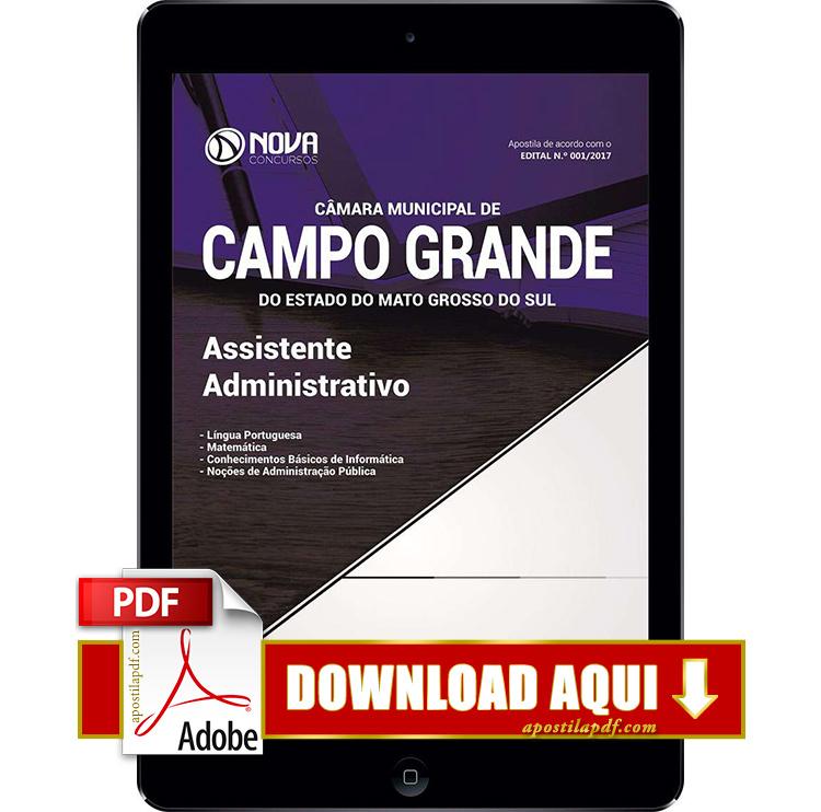 Apostila Câmera de Campo Grande 2017 PDF Download Assistente Administrativo