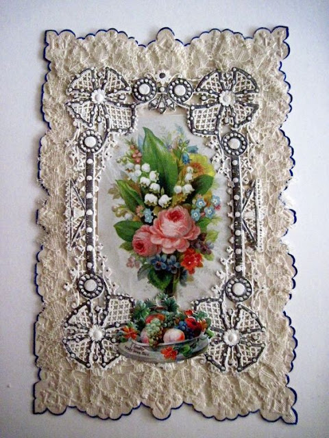 Victorian Valentine's card with real lace