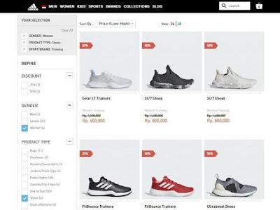 daftar produk sepatu training yang mendapat diskon (%)