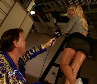 WWE / WWF No Mercy 1999 -  Jerry 'The King' Lawler interviews Terri up a ladder