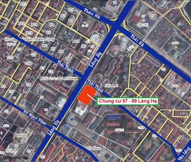 Vị trí chung cư 97 - 99 Láng Hạ