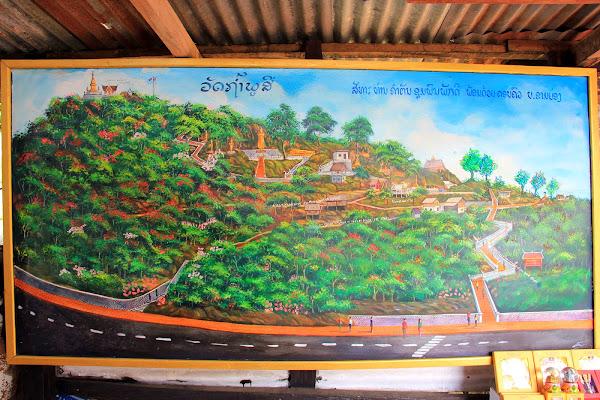 Carte qui Phu Si et Wat Tham Phu Si - Phou Si Hill