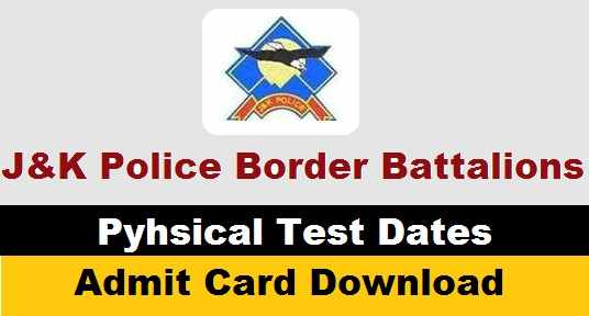 [JK-Police] 02 Border Battalions Physical Test Dates 2020 Out! | JKP Constable PST/PET Admit Card