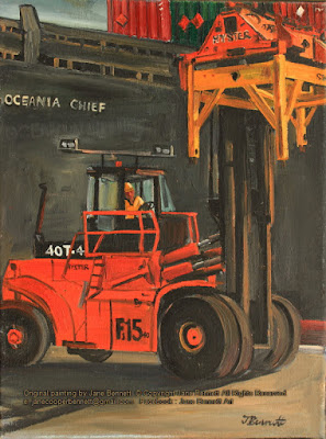plein air oil painting of  the Hungry Mile wharf at East Darling Harbour, now Barangaroo and Millers Point of wharfies unloading a cargo ship  by artist Jane Bennett