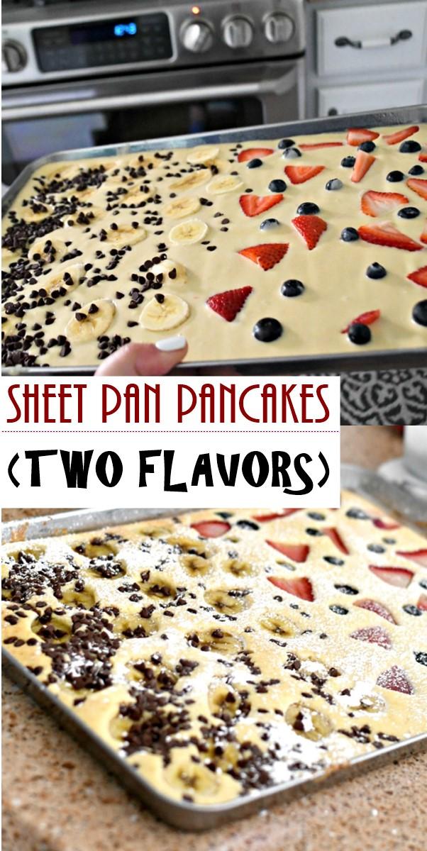 SHEET PAN PANCAKES (TWO FLAVORS) #breakfastideas