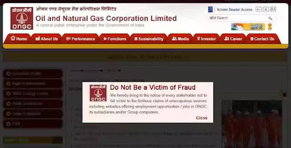 ONGC warning against fake appointment letters and asking for money