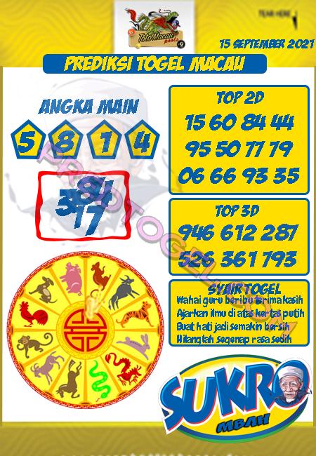 Pred Mbah Sukro Macau Rabu 15 September 2021