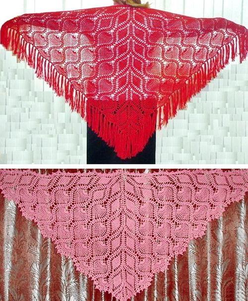 Pineapple crochet shawls,  Crochet lace shawls - Triangle Large Shawls, Vintage crochet pattern