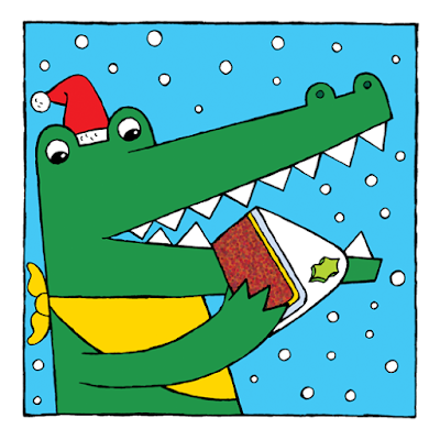 illustration of a happy crocodile eating christmas cake