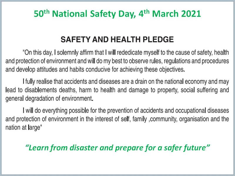 Safety Pledge in English | National safety day