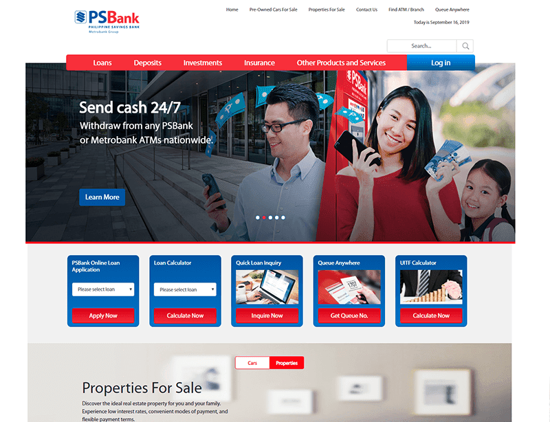 PSBank's redesigned website